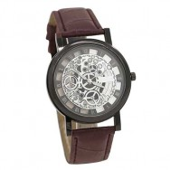 151 Black Skeleton Dial Men Leat..