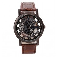 151 Black Skeleton Dial Men Leather Quartz Wrist Watch