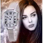 145 Women Fashion Roman Numerals Stainless Steel Wrist Watch