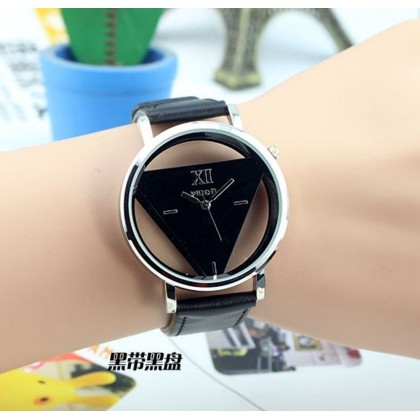 133 Fashion Hollow Triangle Leather Wrist Watch