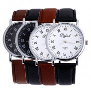 124 Roman Dial Men Analog Leather Wrist Watch