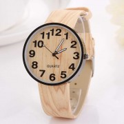 78 Wood Grain Leather Quartz Watch