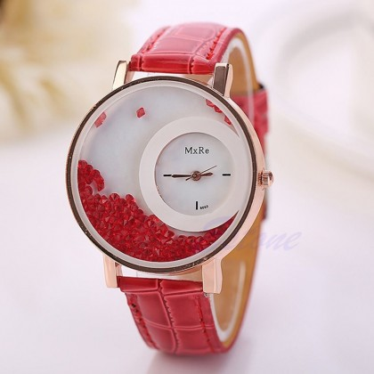 15 Leather Round Dial Analog Wrist Watch