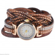 111 Coffee Vintage Girls Women Wrap Rivet Leather Wrist Watch