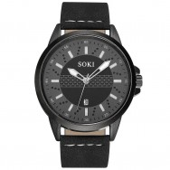 319 SOKI Men's Black Leather Auto Date Display Wrist Watch