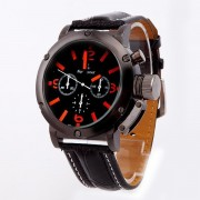 105 Orange Strips Hour Leather Wrist Watch