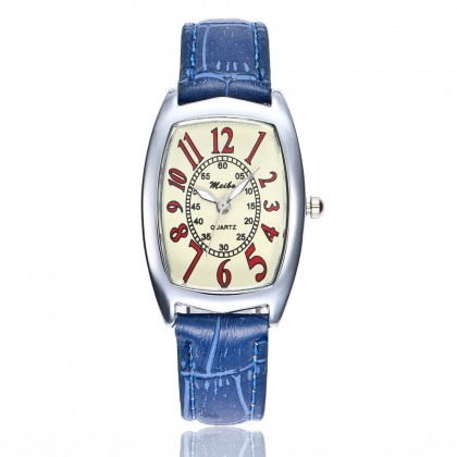 12 Blue Vintage Lady Dress Synthetic Leather Wrist Watch
