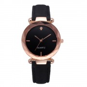 77 Diamond Glass Black Luxury Lady Leather Wrist Watch