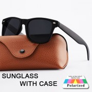 92 Polarized Unisex Retro Classic Leather Case Vintage Sunglasses