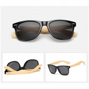 45 Wooden Frame Wayfarer UV Black Sunglasses