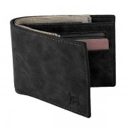 64 Baborry Leather Zipper Soft Casual Short Solid Wallet